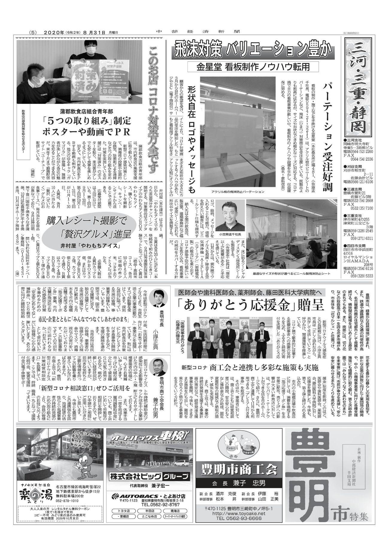2020.08.31 中部経済新聞 掲載